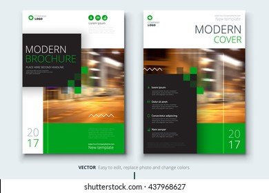 Catalog design. Corporate business template for brochure, annual report, magazine. Layout with modern green elements and urban style photo. Creative poster, booklet, leaflet, flyer or banner concept