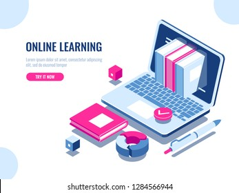 Catalog of online courses isometric icon, online education, internet learning, laptop with book on screen, seo optimization, content making, flat vector illustration