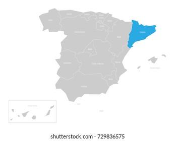 Catalonia autonomous community in the map of Spain.