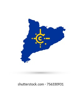 Catalonia map in Central European Free Trade Agreement (CEFTA) flag colors, editable vector.