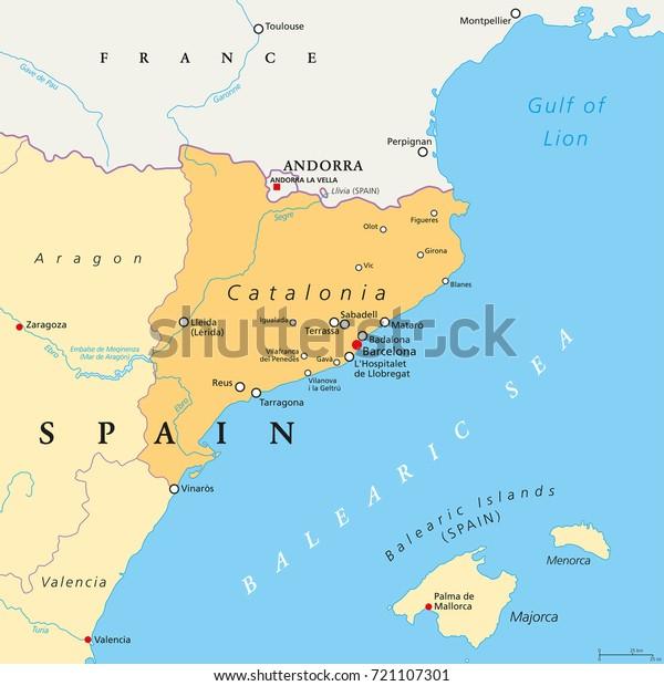 Map Of Spain France Border.Catalonia Political Map Capital Barcelona Borders Stock Vector