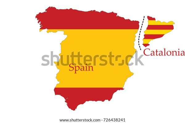 Catalan Map Of Spain.Catalonia Separation Spain Vector Concept Map Stock Vector Royalty