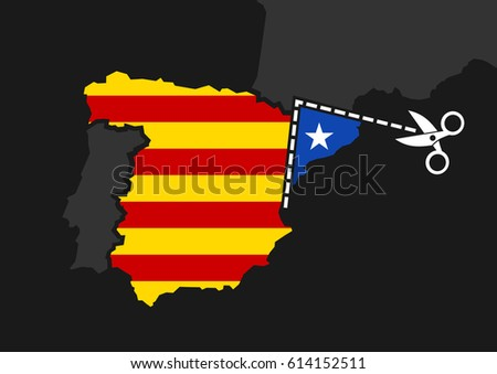 Catalonia vs Spain -  independence and sovereignty of Catalan nation. Autonomous territory is cutted out of map as metaphor of separation and disintegration