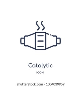 catalytic converter icon from transportation outline collection. Thin line catalytic converter icon isolated on white background.