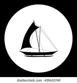 catamaran boat simple isolated black icon eps10