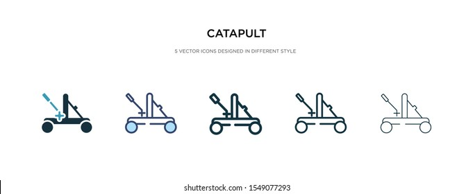 catapult icon in different style vector illustration. two colored and black catapult vector icons designed in filled, outline, line and stroke style can be used for web, mobile, ui