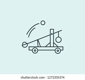 Catapult icon line isolated on clean background. Catapult icon concept drawing icon line in modern style. Vector illustration for your web mobile logo app UI design.