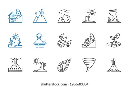 catastrophe icons set. Collection of catastrophe with volcano, tornado, meteorite, drought, eruption, landslide, avalanche. Editable and scalable catastrophe icons.