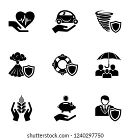Catastrophe icons set. Simple set of 9 catastrophe vector icons for web isolated on white background