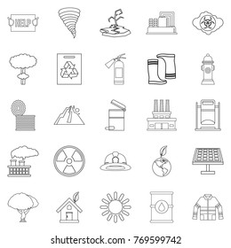 Catastrophic event icons set. Outline set of 25 catastrophic event vector icons for web isolated on white background