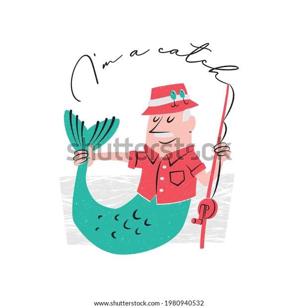 I'm a catch. Fisherman who is also a merman proudly holding his own tail.