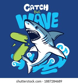 Catch the wave.Shark attack vector print. Fun t-shirt design for kids.Vector illustration design for fashion fabrics, textile graphics, print.