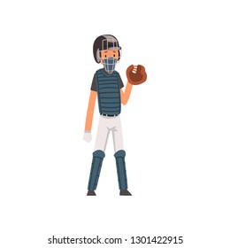 Catcher Baseball Player Character in Uniform and Outfield Glove Vector Illustration