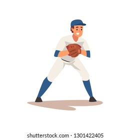 Catcher Waiting for Ball, Baseball Player Character in Uniform Vector Illustration