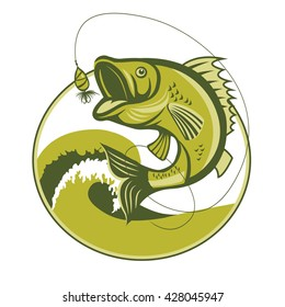 Catching Bass Fish Vector. Fish Mascot Jumping Of Water. Perch Fishing Vector Illustration.