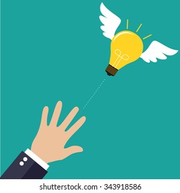 Catching The Flying Idea. Buisness man hand, light bulb with wings at green backgound in flat design. Concept for web design, infographic. Vector Illustration