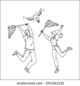 Catching Idea With Net Man And Woman People Black Line Pencil Drawing Vector. Boy And Girl Catch Idea Flying Lightbulb Together. Characters Businesspeople Holding Netting, Ideation Illustration