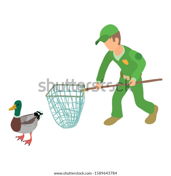 Catching wild duck icon. Isometric illustration of catching duck vector icon for web