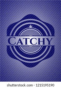 Catchy badge with jean texture