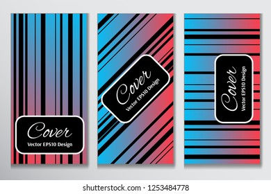 Catchy cover gradient stripe front page. Contrast cover for header page of book. Layout with black stripes on colorful gradient background for corporate purpose.