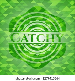 Catchy green emblem with triangle mosaic background