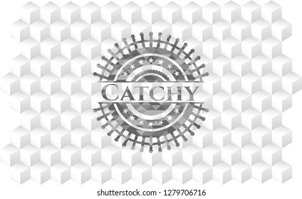 Catchy grey emblem. Retro with geometric cube white background