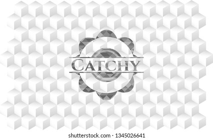Catchy grey emblem. Vintage with geometric cube white background