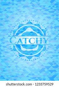 Catchy light blue emblem with mosaic background