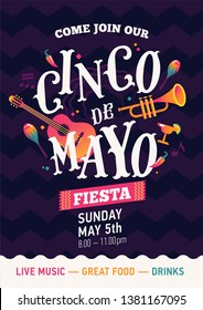 Catchy poster vector template on Cinco de Mayo (5 of May) Mexican holiday banner in trendy flat style. Fifth of May layout with colourful Mexican themed design elements