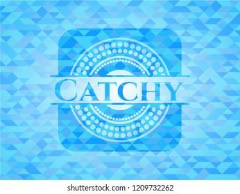 Catchy realistic light blue mosaic emblem