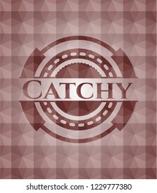 Catchy red seamless emblem or badge with geometric pattern background.