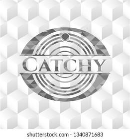 Catchy retro style grey emblem with geometric cube white background
