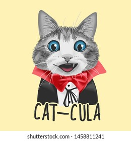 cat-cula slogan with cute cat in Dracula costume illustration