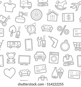 Categories of goods, Internet-shop, seamless pattern, white. Vector grey outline icons industrial products on a white background. Plain, flat background.