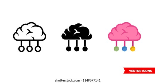 Categorization sorting classification icon of 3 types: color, black and white, outline. Isolated vector sign symbol.