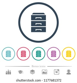 Categorize flat color icons in round outlines. 6 bonus icons included.