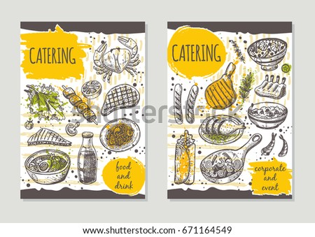 Catering Brochure Flyer Design Retro Background Hand Drawn Vector Illustration Can Be Used