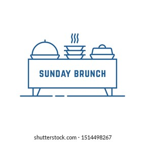catering buffet or sunday brunch icon. concept of business lunch time or smorgasbord hour. flat stroke trend modern feast logotype lineart graphic art design isolated on white background