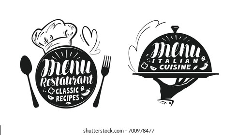 Catering, canteen concept. Illustration for design menu restaurant or cafe. Lettering, calligraphy vector illustration