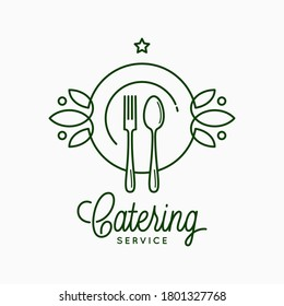 Catering linear logo with plate and fork on white background