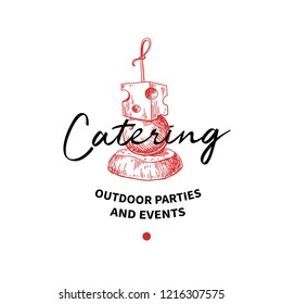 Catering logo concept. Vector label. Hand drawn canape for outdoor party and event agency. Food service. Drawing for restaurant company design.