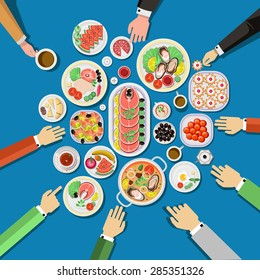 Catering party with people hands and a table of dishes from the menu, top view. Vector flat illustration.Catering business