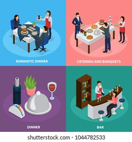 Catering service concept 4 isometric icons square with banquet buffet bar engagement romantic dinner isolated vector illustration