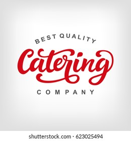 Catering vector logo badge with hand written calligraphy