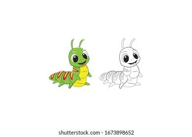 Caterpillar Animal Cartoon Vector Illustration Bundle