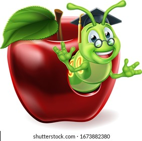 A caterpillar book worm cute cartoon character education mascot coming out of an apple wearing graduation hat and glasses