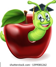 A caterpillar bookworm worm cute cartoon character education mascot coming out of an apple wearing graduation hat and glasses