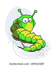 Caterpillar cartoon hand drawn image. Original colorful artwork, comic childish style drawing.