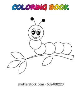 caterpillar  - coloring book.  Coloring  page to educate preschool kids .  Game for preschool kids.  Vector cartoon  illustration, worksheet.