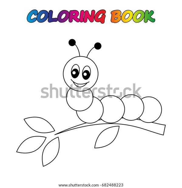 Caterpillar Coloring Book Coloring Page Educate Stock Vector